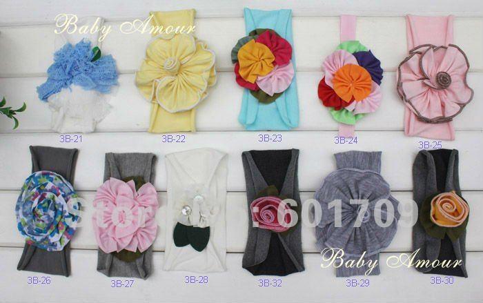 30pcs/lot wholesale Fashion BABY AMOUR flower cotton Headband Baby head band ,girls hairband with flower Free shipping(China (Mainland))