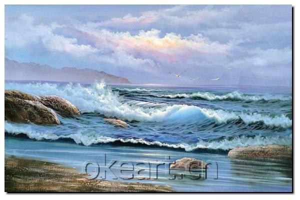 Ondas do mar decoração nova mão Modern pintados sobre tela 24x36 polegadas ondas pintura a óleo 0014(China (Mainland))