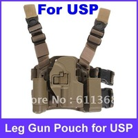 USP Type Pistol  Tactical Puttee Thigh Pistol Holster Leg Gun Pouch with Quick Release Buckle for USP Type Pistol - Black&Brown