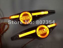 Car Sticker side Turn indicator logo light For Nissan all car, yellow LED lighting for car badge, easy to install, Brilliant!(China (Mainland))