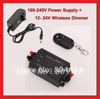 100 - 240V Power Supply + Wireless Remote LED Strip Single Color Light Dimmer Controller DC 12V-24V, Free Shipping