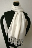 Free Shipping New White Ladies Pashmina Silk Shawl Scarf Warm Wrap  Wholesale Retail 1