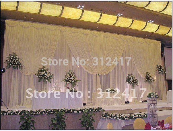 Hotsale white two layer wedding backdrop curtain with swag ,backdrop wedding decoration,wedding stage backdrop(China (Mainland))