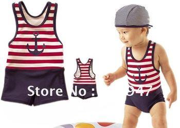 little BOY sailor style Swimwear red blue stripes anchor pattern 2pcs/set  w/ swim cap swimsuits chirdren kids pool beach wear