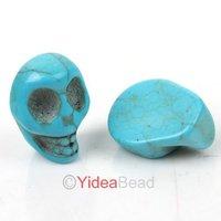 New Hot Dyed  Turquoise Skull Ring Face Stone cabochon Fit Pendants Bracelets Tray DIY 24pcs 111452-111454