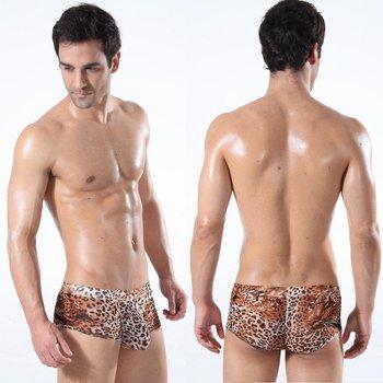 Gauze Mesh Leopard Men Boxer Underwear Low Waist Enhance Pouch Size M L XL -FREE SHIPPING