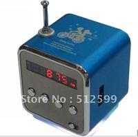 Wholesale 20pcs/lot TD-V26 Mini LED Display Digital MP3 Player Speaker With Micro SD / TF / USB / FM + USB Cable & Audio Cable