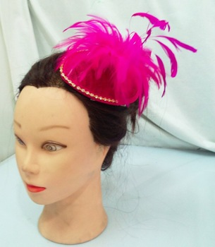 hot sell retail new arrival fuschia feather  fascinator  sinamay base with rhinestone on the brim  free shipping