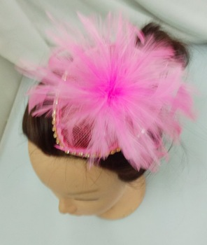 hot sell retail pink feather  fascinator  sinamay base with shining diamante on the brim  free shipping