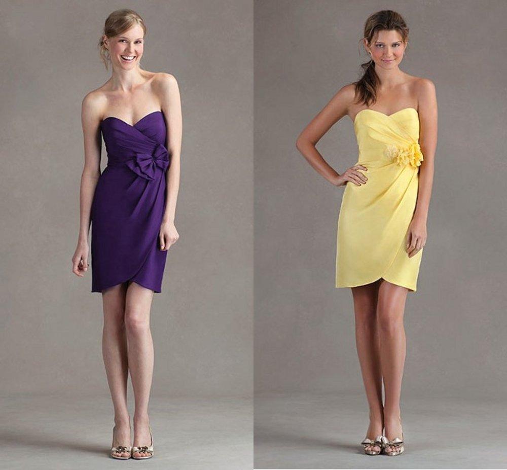 Purple and yellow wedding dresses