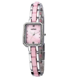 Holiday sale 3 Colors Kimio Brand Watch Pink Ceramic Stainless Steel women Crystal fashion watch ,K452-3(China (Mainland))