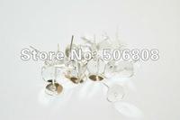200 Pieces (100 Pair) Silver Stud Earring Blanks FREE Rubber Backs 8mm Glue Pad 11mm X 1mm Nickel Free Lead Free