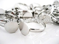 100PCS Silver tone Adjustable Ring Blanks 10MM Glue Pads Lead Free, Metal Ring Setting Jewelry Findings
