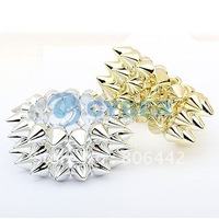Free Shipping New Fashion Lady Punk Style Bracelet, 3 Lines Spike Hedgehog Rivets Bracelet Beautiful
