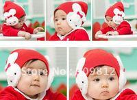 Free Shipping Double rabbit ear baby cap, Korean version children's hat, Autumn Winter cotton cap, 3 color 50pcs/lot
