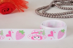 Free shipping 1&quot; shortcake strawberry Grosgrain ribbon, ribbon hair bow print ribbon white(China (Mainland))