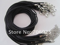 Free shipping Wholesale  mixed color 17-19 inch adjustable 2mm black satin necklace cord with lobster clasp  100pcs/lot