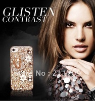 Free shipping Luxury edition bag phone shell for iphone4 4s shell pearl diamond  phone accessories