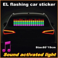 80x19 Genuine High Quality Equalizer Sound Active flashing EL car Sticker 5colors Car Music Rhythm Lamp free shipping