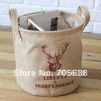 Wholesale Free Shipping Red David's deer Crown Jute Linen Storage Bag