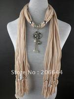 Charm design pure color scarves beads tassel women's scarf alloy flowers tassel pendant