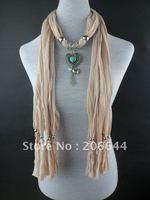 Charm design pure color scarves beads tassel women's scarf alloy heart+stone pendant