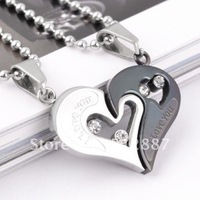 Free Shipping Fashion Couple Jewelry Sets 316L Stainless Steel Love Heart Necklace Pendant For Lover QL007