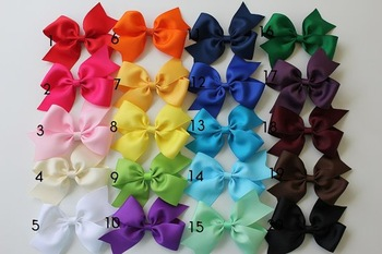 300pieces MOQ  fashion ribbon material many colors hair bows barrettes