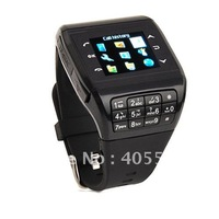 Watch Cell phone dual SIM card touch screen quad band 2MP camera support MP3 MP4 watch cell phone 3pcs Q3 free shipping!
