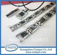 carbon fiber germanium magnetic titanium bracelet and necklace set magnetic jewelry 10sets/lot