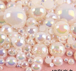 Sale 2-10MM Acrylic/Plastic Half Pearl Round Flatback 2000PCS Mixed size Cream AB color for DIY Nail Jewelry!!(China (Mainland))