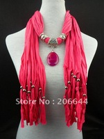 Fashionable gentleness polyester scarves elegant women's scarf acrylic pendant