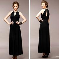 Elegant backwa-rds and handmade beads slender waist dinner long formal dress 5351