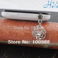 IP048 10pcs/Lot free shipping crystal rhinestone women mobile phone accessories rose flower dust plug