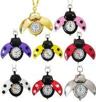 Free shipping Hot Beetle Pendant Pocket Watch Gift Watch Locket Key Chain retro sweater necklace Pocket watch/8C11Z 5pcs/lot