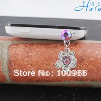 IP053 10pcs/Lot rose flower charm mobile phone latest dust plug