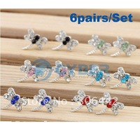 Free Shipping 6 Pairs Silver Plated Mix Color Full Rhinestone Little Dragonfly Earrings New