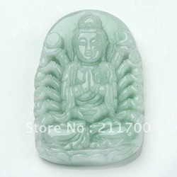 Green Jade Gem Thousands Hands Kwan-yin Pendant 1pc(China (Mainland))