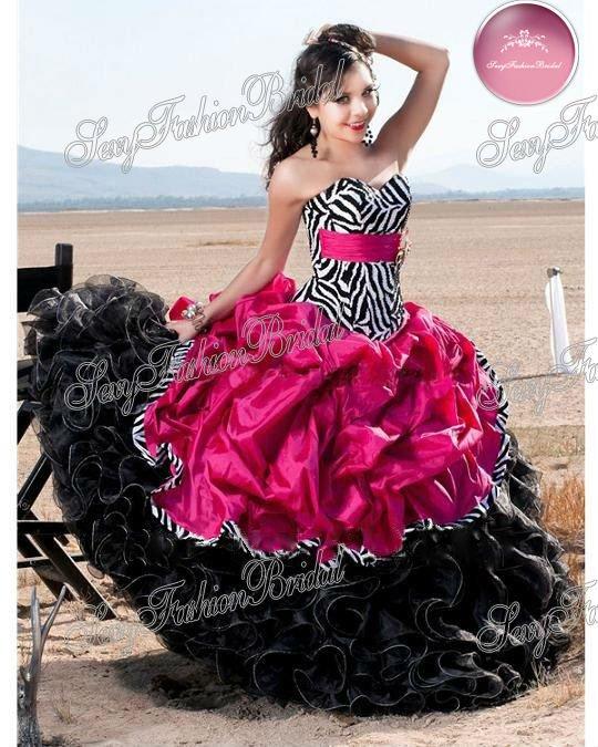Vestidos de XV años zebra rosa - Imagui