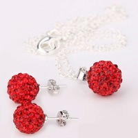 Retail,1 set/lot,Red Color Shamballa Jewelry Sets,10mm Beads Crystal Necklace Set,Fashion Wedding Jewelry Earrings+Necklace