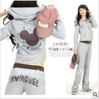 Best Selling!!  woman fashion Sexy long sleeve mouse Hoodie sport suit ladiesclothes +free shipping  1 piece