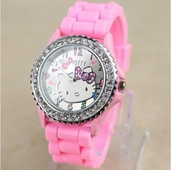 Free Shipping 5pcs/ lot Fashion  Brand New Girl Wirst Hello Kitty Quartz Watch   Silicone Band HSFW002