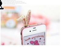 THE KOREAN CUTE RABBIT EAR CELL PHONE ACCESSORIES JEWELRY DIOMAND DUSTPROOF 3.5MM JACK PLUG shiying1