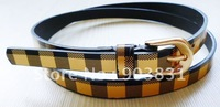 Free shipping fashion lady belt  pu belt, CHECK pu belt