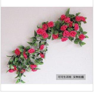 Free shipping Simulation flowers rose wedding celebrates9head decorative flower rattan(China (Mainland))