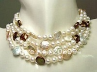 wholesales fashion jewelry choker white pearl & coin pearl necklace pearl Jewelry,gift, free shipping