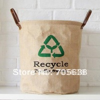 Wholesale Free Shipping Eco-friendly Environment Friendly Recycle Jute Linen Storage Basket