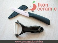 "Free Shipping! 2-piece 4"" Ikon Ceramic fruit knife New 100% Zirconia & scabbard Ceramic Knife Combination(AJ-D4001P-2C-GRB"
