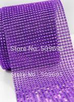 24rows x 10yards purple rhinestone wrap, bling  plastic mesh for Christmas decoration