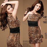Free Shipping 2012 Dress New Sexy Fashion Women's Crew Neck Leopard print Mini Dress